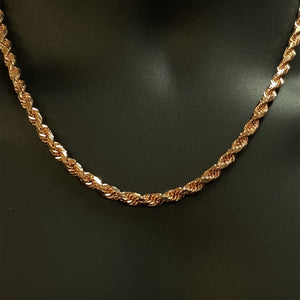 10kt Rose Gold Solid Diamond Cut Rope Chain 5 mm 20 inches