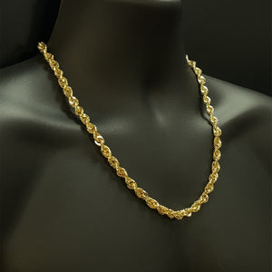 10kt Yellow Gold Diamond Cut Rope Chain 7 mm 22 inches