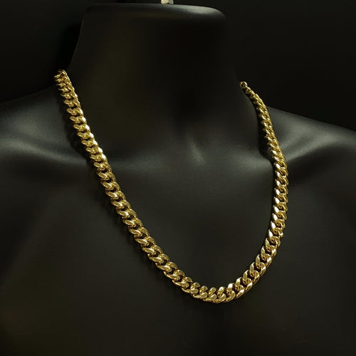 10kt Yellow Gold Miami Cuban Link Chain 11 mm 24 inches