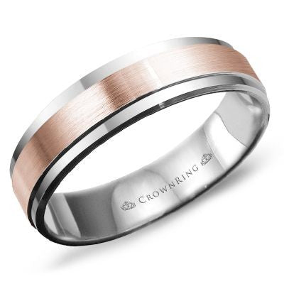 Classic and Timeless Band in Two Tone Rose and White Gold 14 Karat