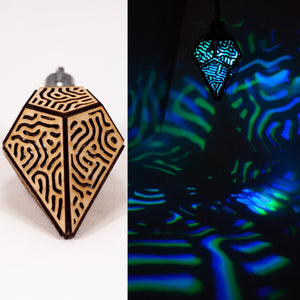 The Organic Prism || LED Pendant || Cherry Wood