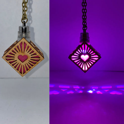 Four Sided Heart || LED Pendant || Cherry Wood