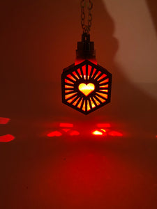 Hexa Heart || LED Pendant || Red Cedar