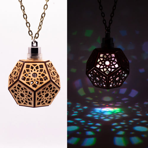 Lotus Dodecahedron || LED Pendant || Cherry Wood