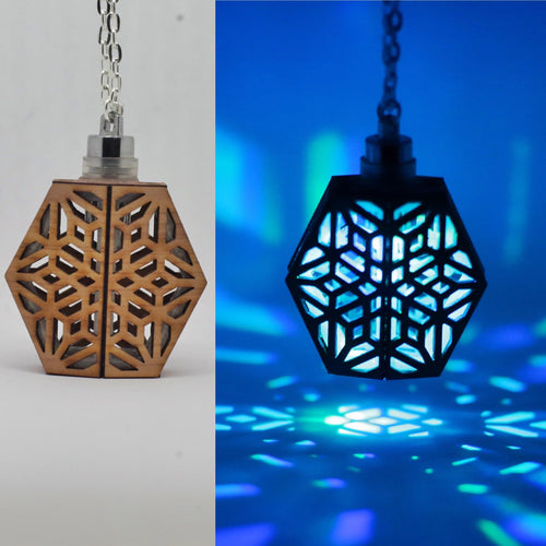The Frosty Flake || LED Pendant || Red Cedar