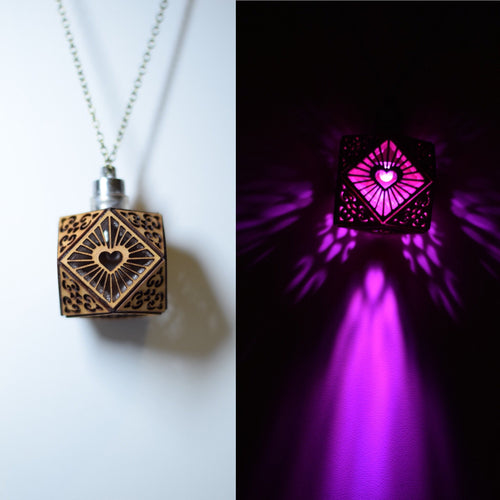 Cubo Love ||LED Pendant || Cherry Wood