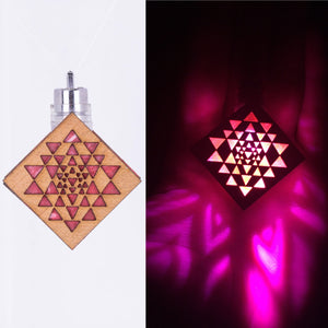 The Sri Yantra || LED Pendant || Cherry Wood