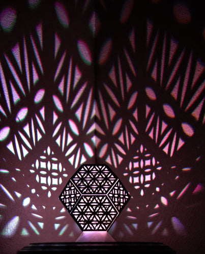 Flower of Life Truncated Octahedron || LampGeo || Rechargeable LED Shadow Lamp