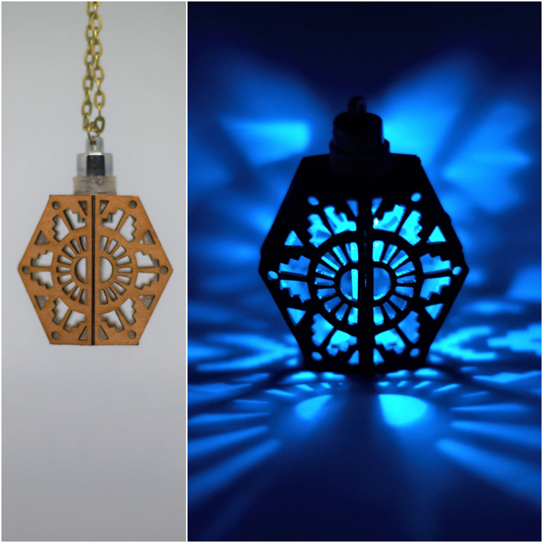 The Tribal Shield || LED Pendant || Cherry Wood