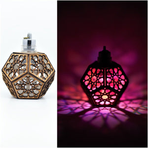 Star Rosette Dodecahedron || LED Pendant || Cherry Wood