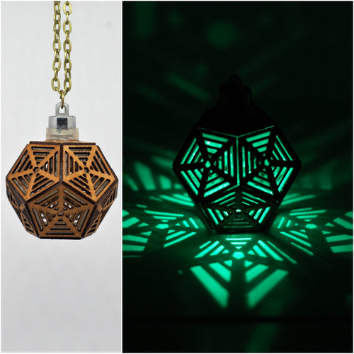 Dodecahedron Rising || LED Pendant || Cherry Wood