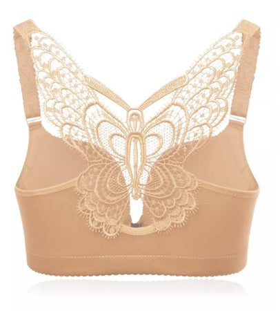 Butterfly Lace Front Closure Wireless Bra