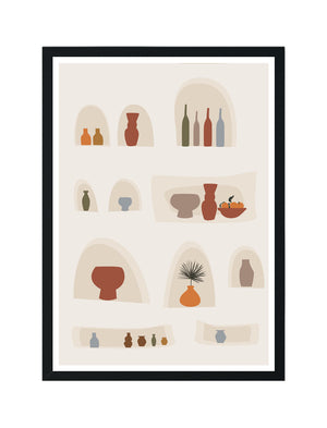 Abstract Wall with Vases