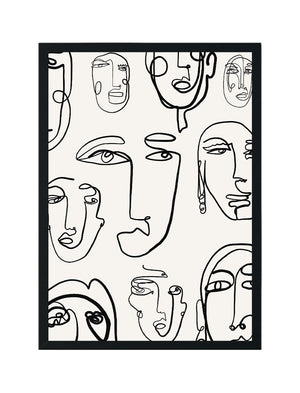 Line Art Faces Black