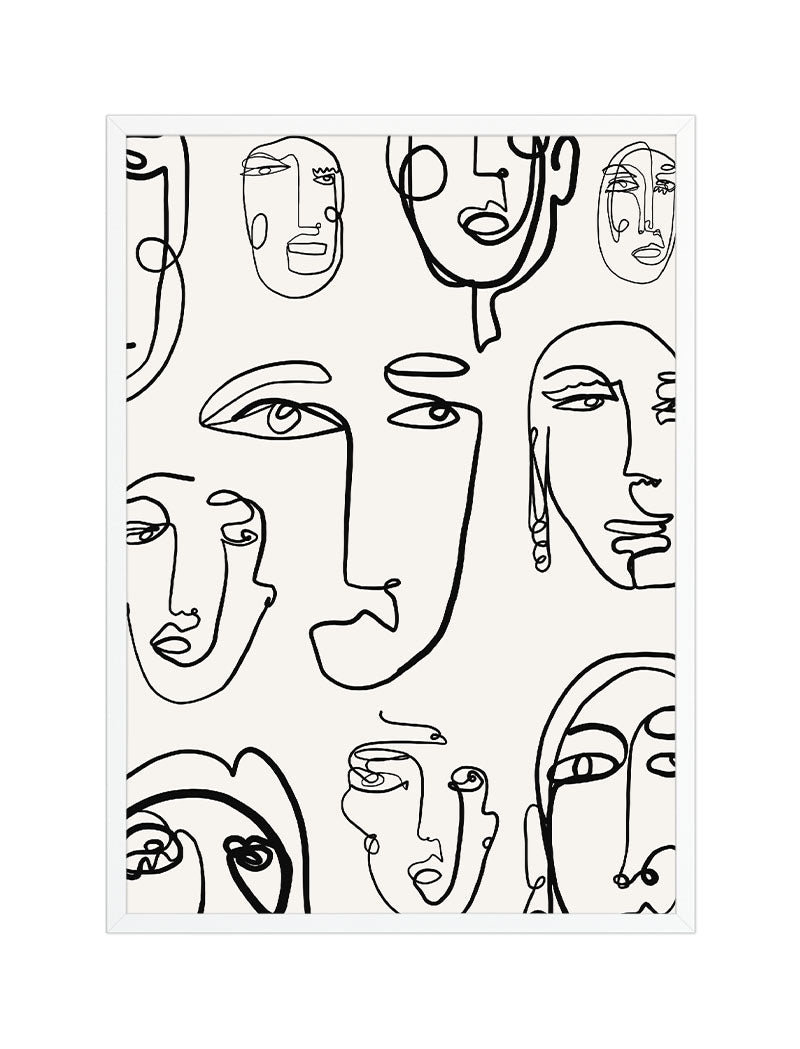 Line Art Faces White