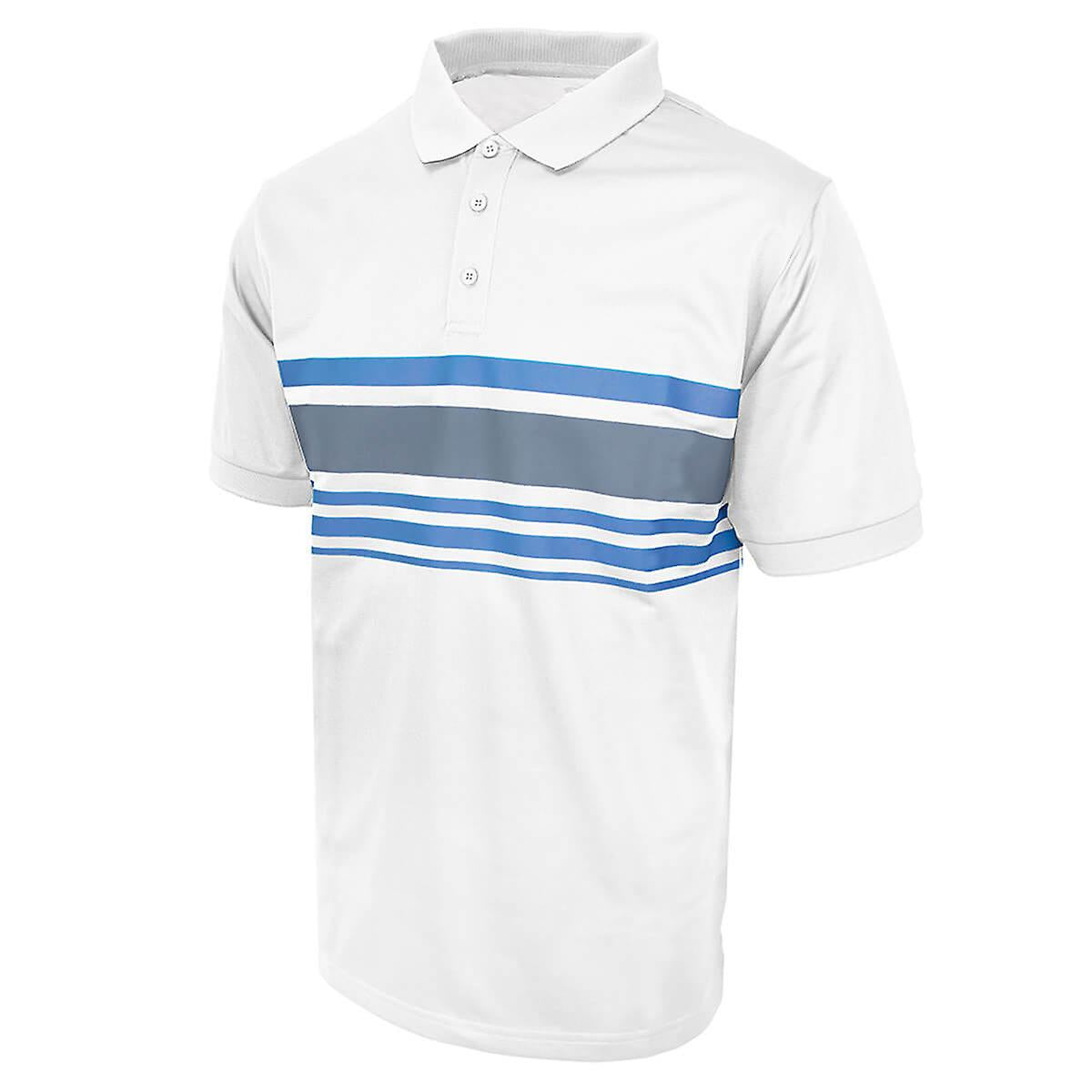 Island Green Chest Stripe Polo White/Charcoal