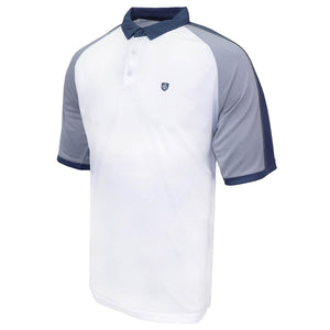 Island Green Contrast Raglan Polo White/Grey/Blue