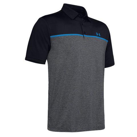 Under Armour Playoff Chest Engineered 2.0 Polo Black, Grey & Electric Blue