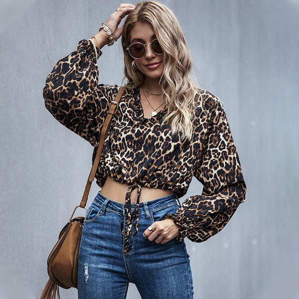 Leoaprd Printed Long Sleeve Short Blouse
