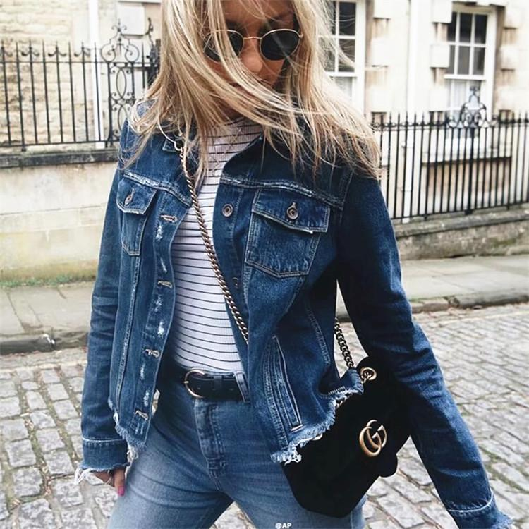 Dark Blue Lon Sleeve Frayed Denim Jacket Coat