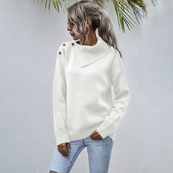 Button Shoulder High Neck Knitted Pullvoer Sweater