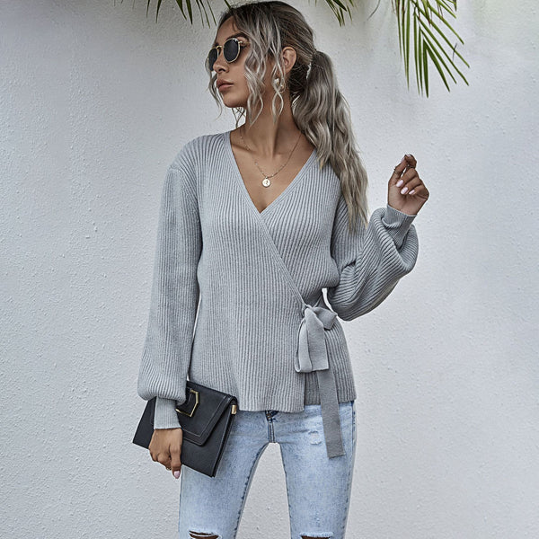 V-neck Wrap Long Sleeve Knitted Pullover Sweater
