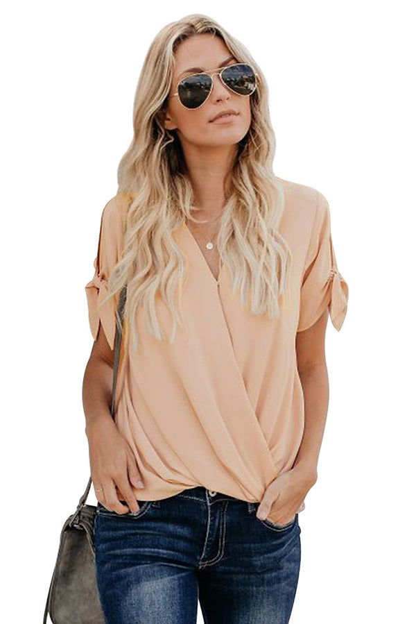 Apricot Charismatic Drape Short Sleeve Blouse