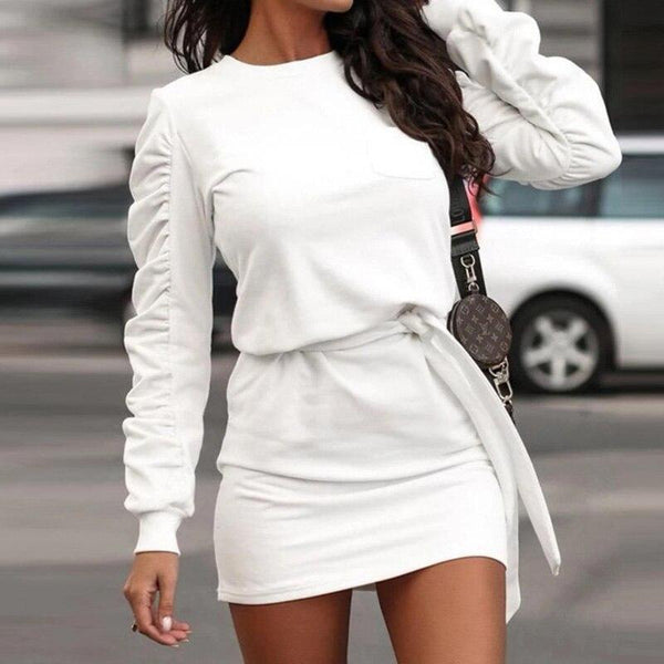 Solid Hooded Pullover Dress