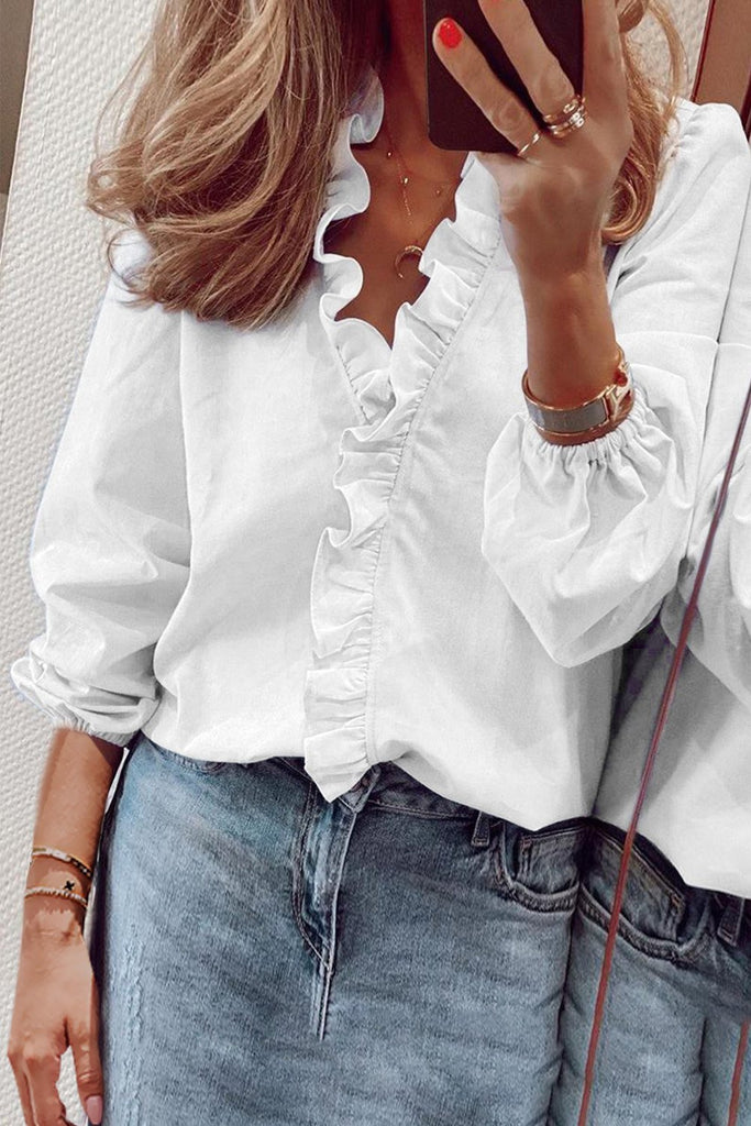 Chic Cute Ruffles Casual White Long Sleeve Blouse