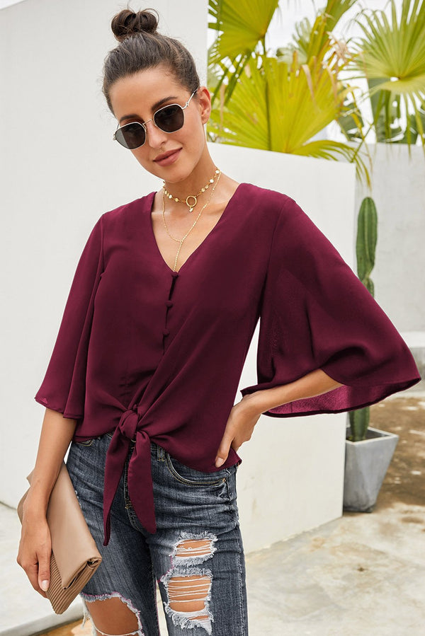 Chic Wine Button Tie Blouse Top