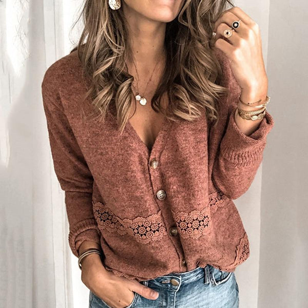 Women Autumn V Neck Button Open Stitch Sweater
