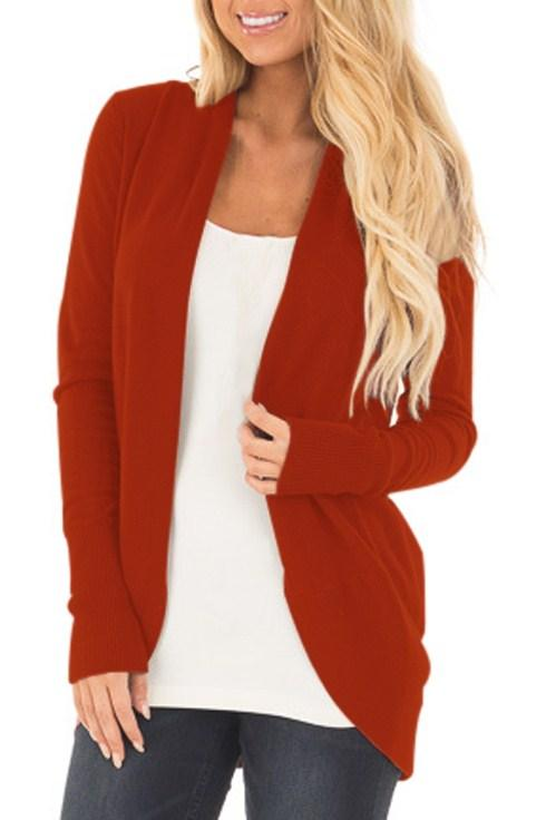 Maroon Super Soft Long Sleeve Open Cardigan