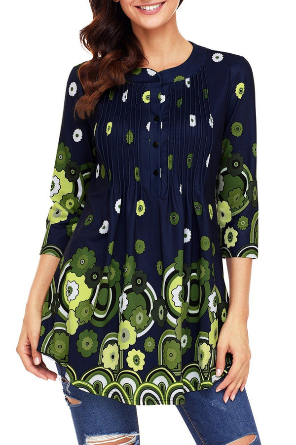 Navy Green Floral Print Flowy Blouse