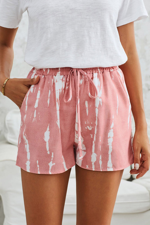 Pink White Tie Dye Casual Shorts