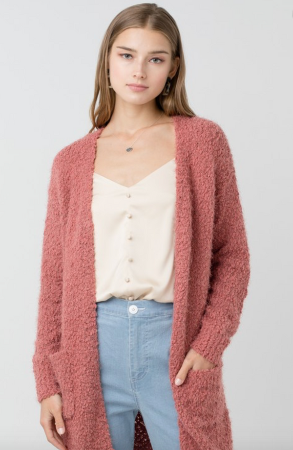 Fluffy Rose Cardigan