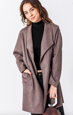 Waterfall Suede Blazer Coat