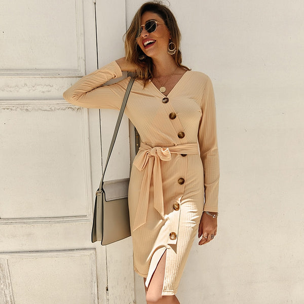 Sexy V Neck Long Sleeve Women Knitted dress