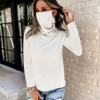 Women Long Sleeve Tops with Mask