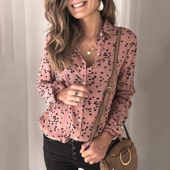 V-neck Leopard Print Vintage Ladies Office Shirts