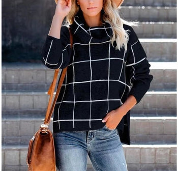 High Neck Classical Plaid Knitted Sweater