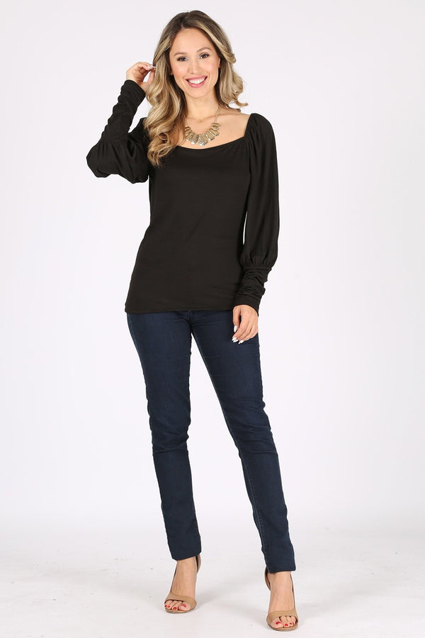 1318.Solid print fitted top, square neck, long puff shoulder sleeves.