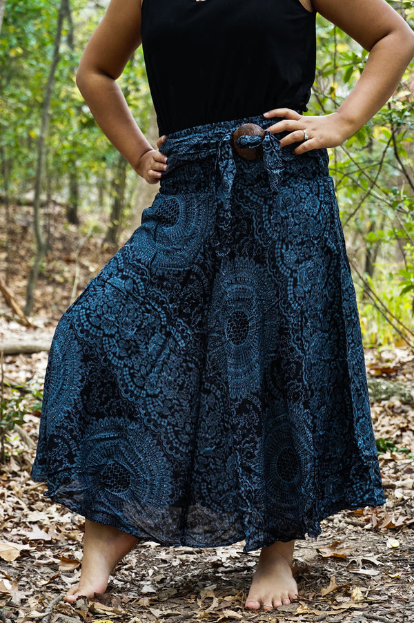 Black Mandala Boho Skirt, Hippie Gypsy Skirt