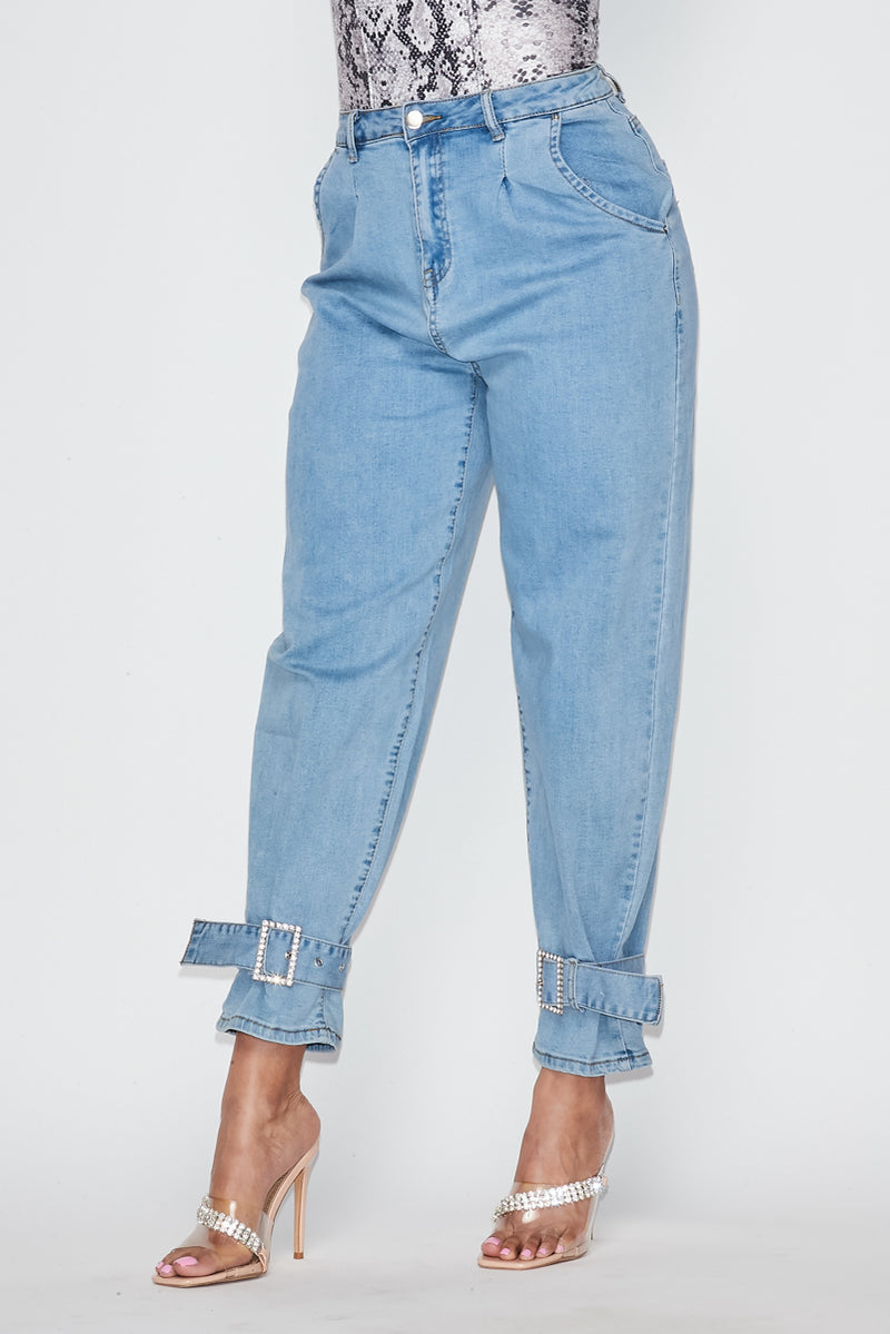 Rhinestone Ankle Balloon Jeans - Fashion House USA