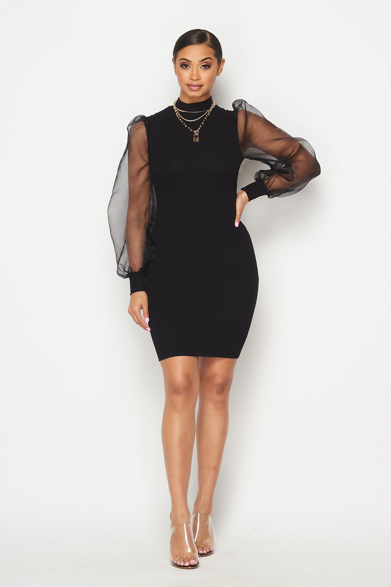 Sheer Sleeves Mini Dress - Fashion House USA