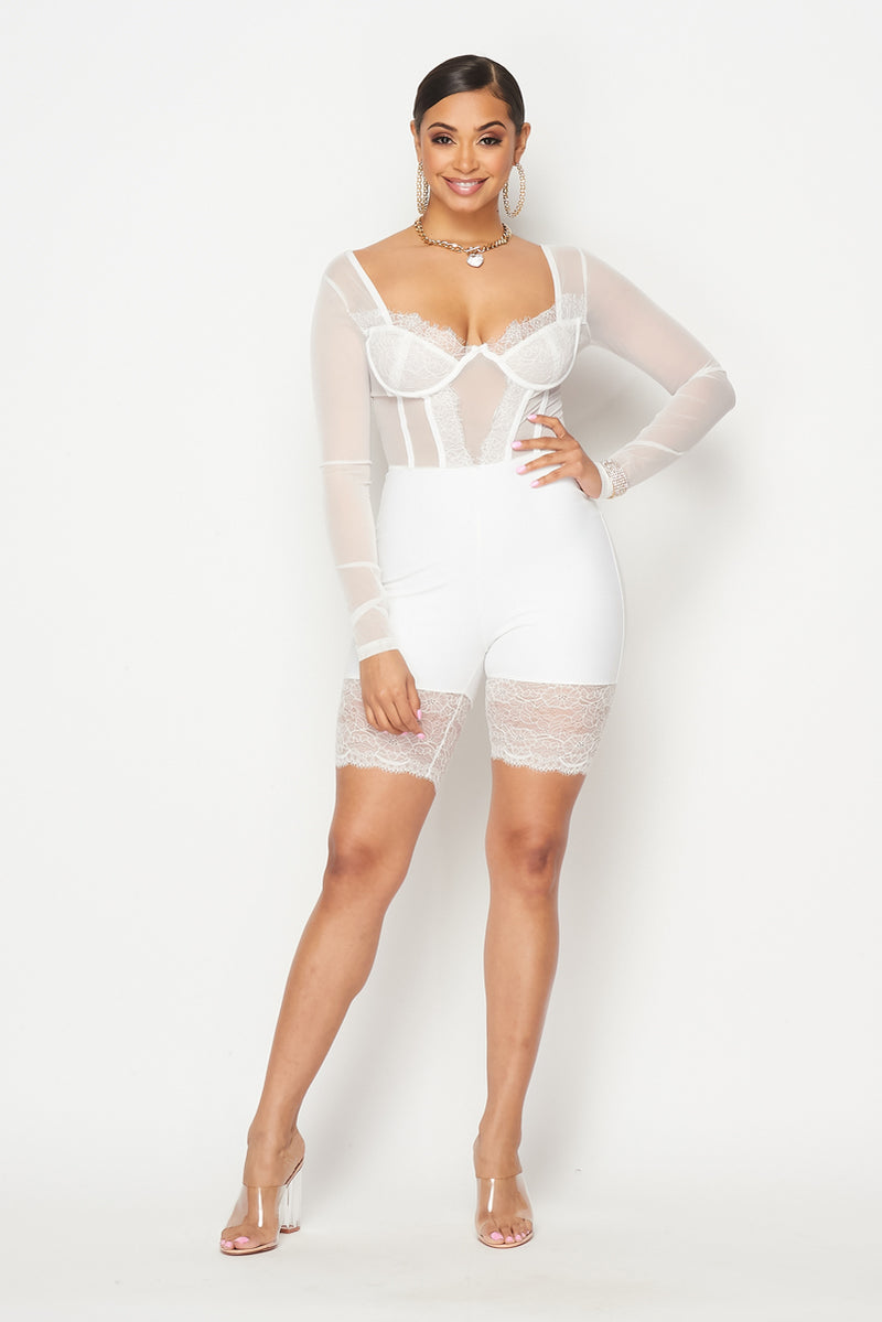 Lace & Mesh Long Sleeves Romper - Fashion House USA