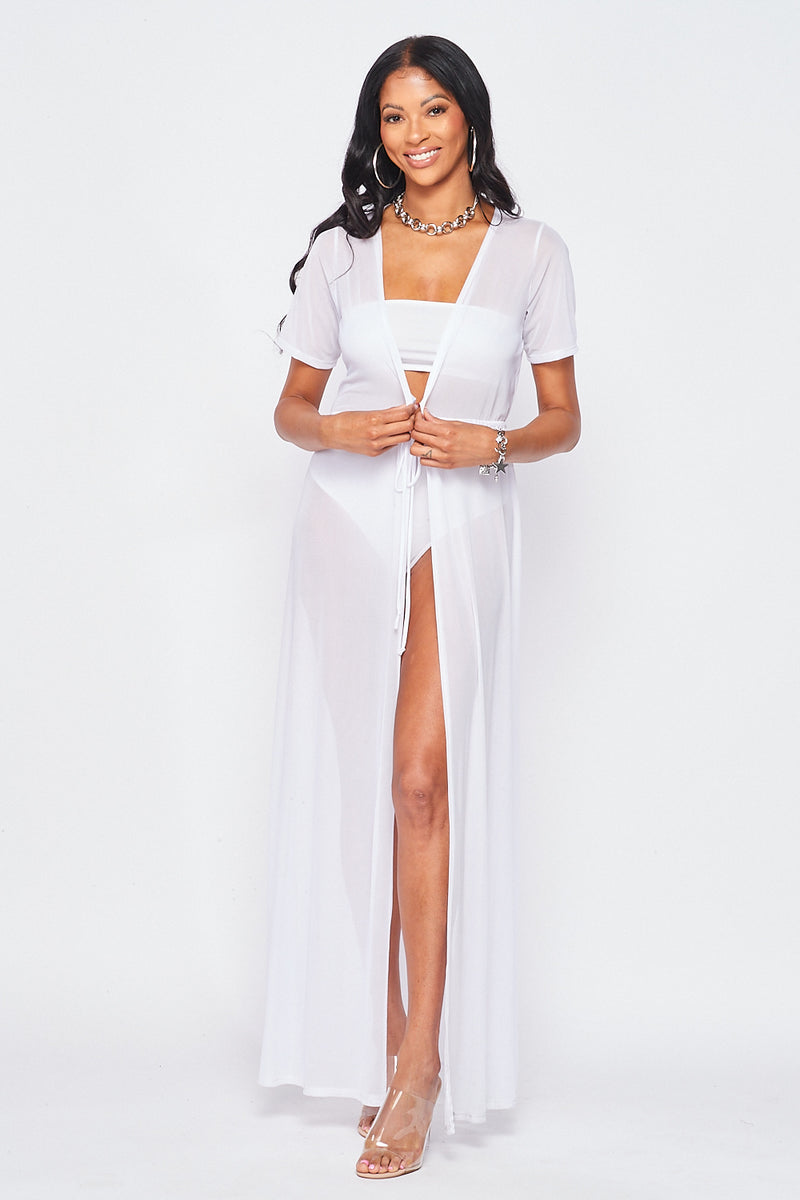 Solid Mesh Short Sleeve Long Swimsuit Cover Up in White - Fashion House USA