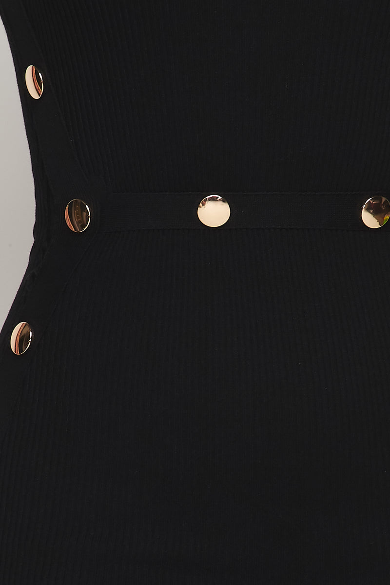 Button Detail Knit Mini Dress - Fashion House USA