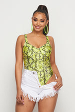 Snake Print Bodysuit - Fashion House USA
