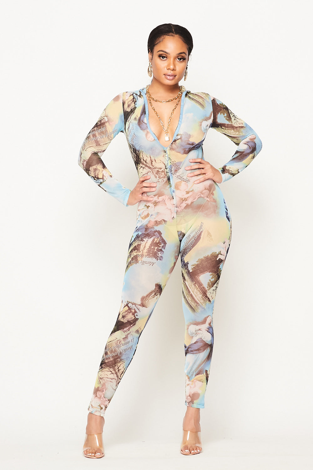 Angel Print Stretch Mesh Jumpsuit - Fashion House USA