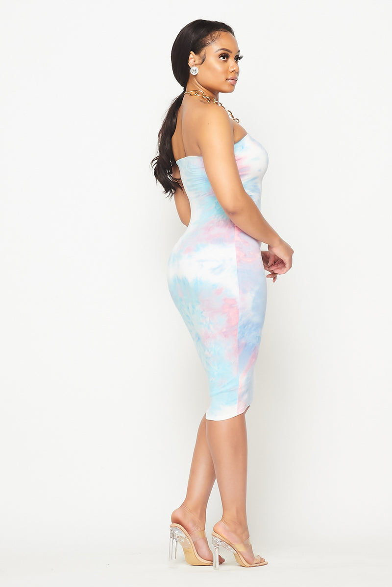 Tie-Dye Super Fit Midi Dress - Fashion House USA